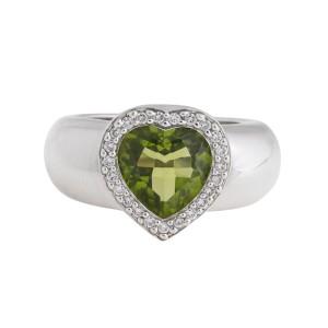 Piaget 18K White Gold, Diamond, Prasiolite Ring Size 7.5