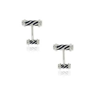 Tiffany Sterling Silver Black Enamel Cufflinks