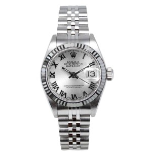 Rolex Datejust Stainless Steel Fluted Silver Roman Dial Womens Watch
