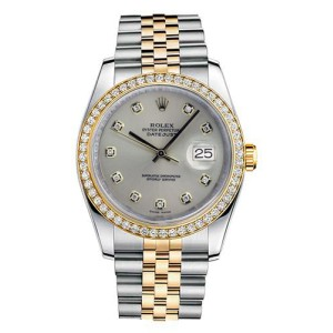 Rolex Datejust Two Tone Custom Diamond Bezel & Silver Diamond Dial on Jubilee Bracelet Watch