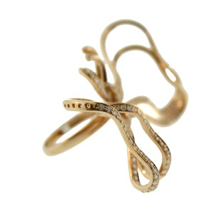 18K Rose Gold Bow Tie Diamond Cocktail Ring