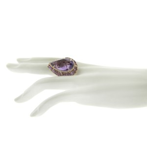 14K Rose Gold Sapphire Amethyst Diamond Cocktail Ring