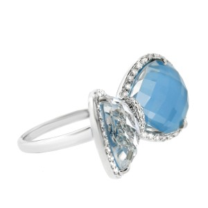 14K White Gold Turquoise Diamond Bow Tie Fashion Cocktail Ring