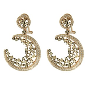 14K Rose Gold Diamond Crescent Moon Drop Earrings