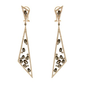 14K Rose Gold Diamond and Amber Triangle Dangle Earrings