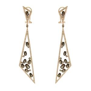 14K Rose Gold Amethyst Diamond Triangular Drop Earrings