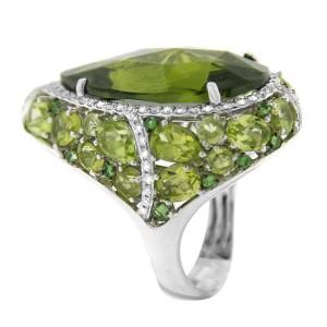 14K White Gold Diamond Green Garnet Tear Drop Cocktail Ring
