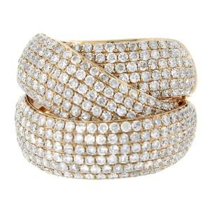 14K Rose Gold Diamond Interlocking Ring
