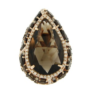 14K Rose Gold Diamond and Smokey Topaz Ring