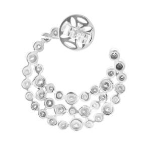 14K White Gold Diamond Crescent Earrings