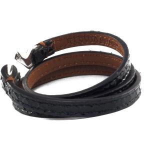 Ippolita Sterling Silver Black Python Leather Hammered Hook Wrap Bracelet
