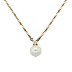 Tiffany & Co. 18K Gold Akoya Pearl Diamond Pendant Necklace