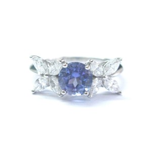 Tiffany & Co Platinum Victoria Diamond Tanzanite Ring
