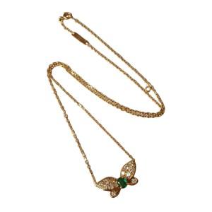 Van Cleef & Arpels 18k Yellow Gold Diamond Emerald Butterfly Necklace