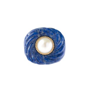 14k Yellow Gold Lapis Lazuli and White Fresh Water Pearl Ring