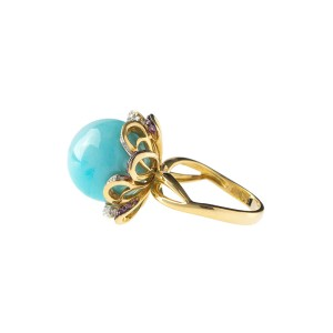 18k Yellow Gold, Amethyst and Turquoise Ring
