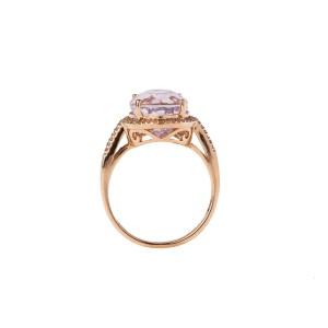 14k Rose Gold Diamond and Kunzite Ring