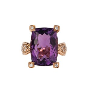 18k Rose Gold Diamond and Amethyst Ring