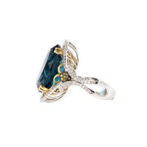 18k Yellow and White Gold Diamond, Yellow Diamond and London Blue Topaz Ring