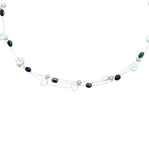 Three Row Multi Color Fresh Water Pearl Necklace