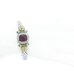 David Yurman Sterling Silver, Rubelite & Diamond Bracelet