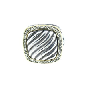 David Yurman Sterling Silver and 18K Gold Diamond Cable Signet Ring