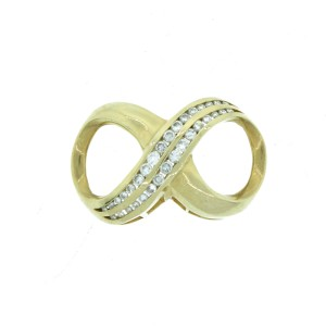 14K Yellow Gold & Diamond Infinity Pendant