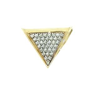 14K Yellow Gold and Diamond Triangle Pendant