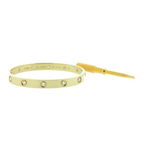 Cartier Love Bracelet Yellow Gold 10 Diamonds Size 16