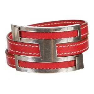 Hermes Red and Palladium Pousse Pousse Bracelet