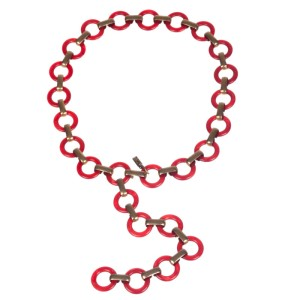 YSL Red Lucite Circle Link Belt Necklace