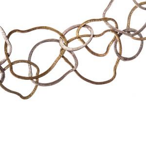 Sterling Silver Etched Flat Link Flapper Necklace