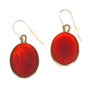 Carnelian Cabochon Dangle Earrings