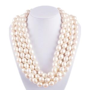 YSL Faux Creamy White Pearl Multi Strand Necklace