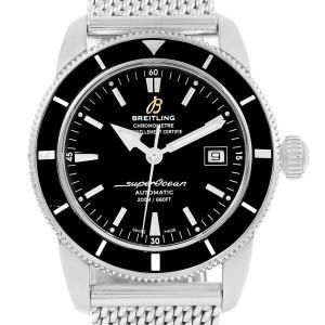 breitling superocean heritage a17321 black dial stainless steel mesh bracelet 42mm mens watch