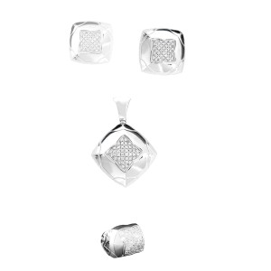Bulgari 18K White Gold and Diamonds Necklace Ring and Earrings Pyramid Set