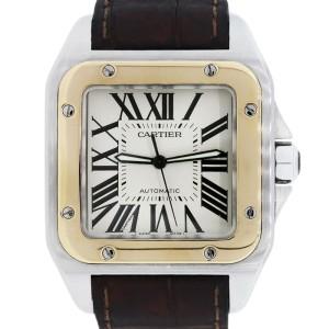 Cartier Santos 100 XL Two-Tone on Brown Alligator Strap 38mm Watch