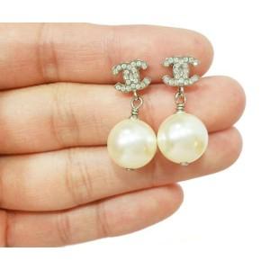 Chanel Classic Silver CC Rhinestone Pearl Dangle Piercing Earrings