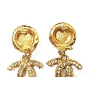 Chanel Rhinestone Gold Plated CC Dangle Clip on Earrings