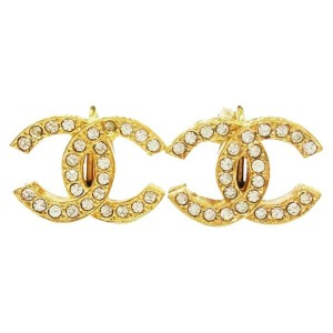 Chanel Gold Plated Metal & Rhinestone CC Clip-On Earrings