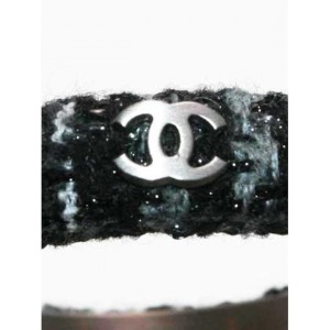 Chanel 09 Black Gray Tweed Wool CC Bangle Fall Bracelet And Box