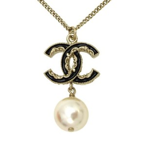 Chanel Gold Plated Metal & Faux Pearl Necklace