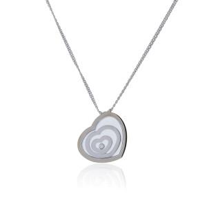 Chopard 18K White Gold Happy Spirit Diamond Heart Necklace