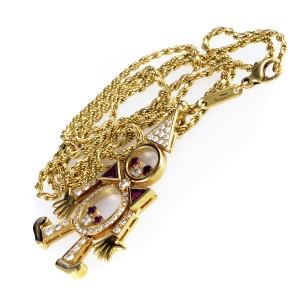 Chopard 18K Yellow Gold Diamond & Ruby Clown Pendant Necklace