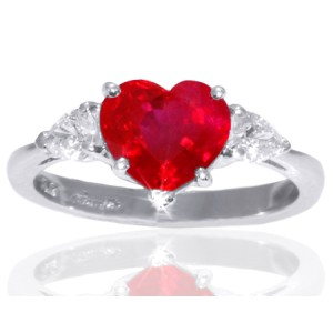 Platinum 2.05ct Heart Ruby & 0.25ct Diamond Ring Sz 6.75