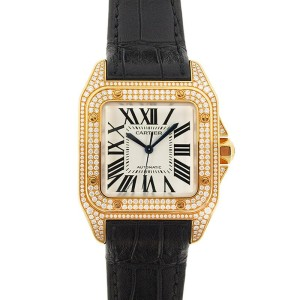 Cartier Santos 100 WM502051 18K Yellow Gold 33mm Womens Watch