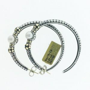 John Hardy 18K Yellow Gold and Sterling Silver Dot Pearl Hoop Earrings