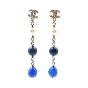 Chanel CC Silver Tone Metal & Blue Beads Piercing Earrings