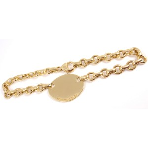 Tiffany & Co. 18K Yellow Gold Oval Tag Charm Bracelet
