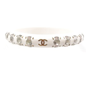Chanel Gem Stone White Bangle Bracelet